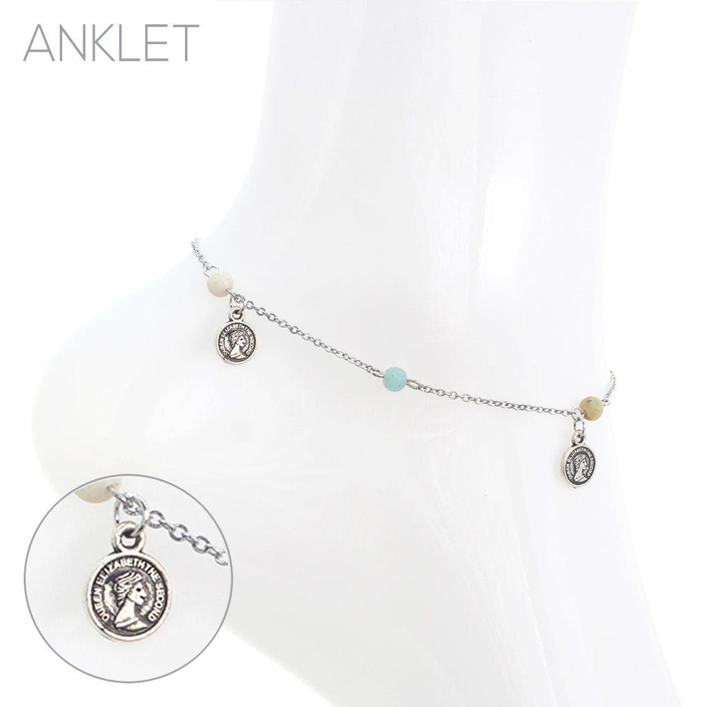 Natural Stone Bead and Disc Coin Charm Ankle Chain Bracelet Anklet