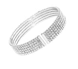 5 Row Rhinestone Cuff Bangle Bracelet (Silver)