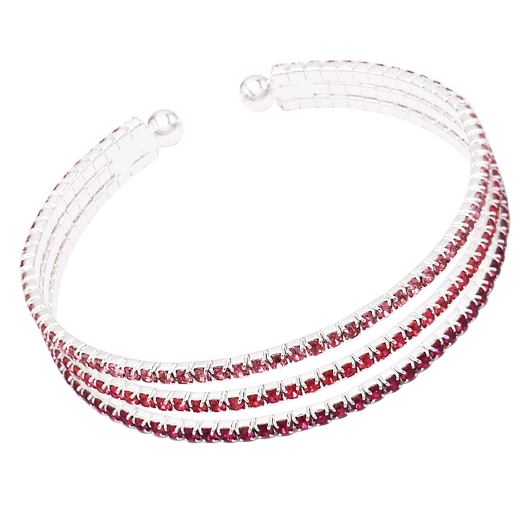 Shades of Pink 3 Strand Rhinestone Statement Bracelet