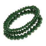 Crystal Dark Green Faceted Glass Bead Stretch Bracelets Set of 3