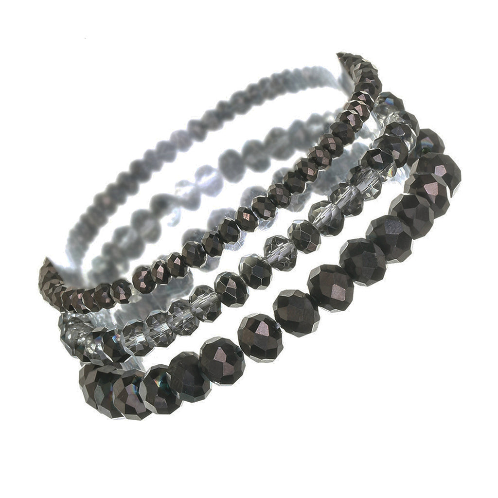 Faceted Glass Bead Stretch Bracelets Set of 3 (Hematite)