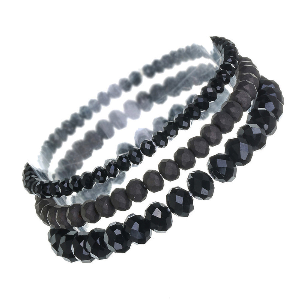Faceted Glass Bead Stretch Bracelets Set of 3 (Black)