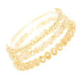 Faceted Glass Bead Stretch Bracelets Set of 3 (Light Topaz)