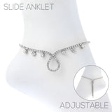 Bolo Slide Crystal Rhinestone with Teardrop Detail Ankle Bracelet Anklet