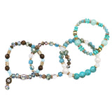 Multi Layer Set of 4 Strand Bead and Sparkly Crystal Statement Bracelets Stretch Bracelets Jewelry Gift Set