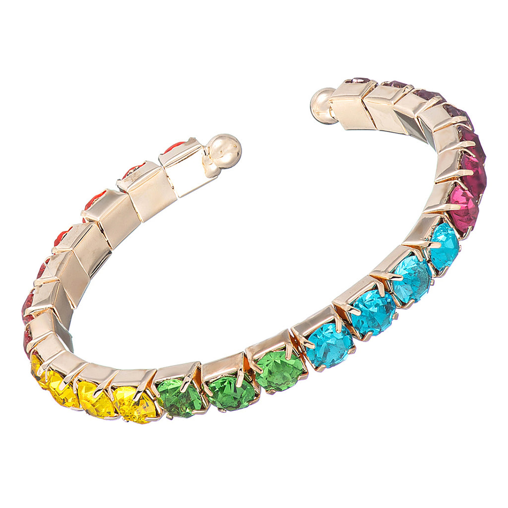 Comfort Flex 6mm Crystal Rhinestone Bangle Cuff Bracelet (Rainbow/Gold Tone)