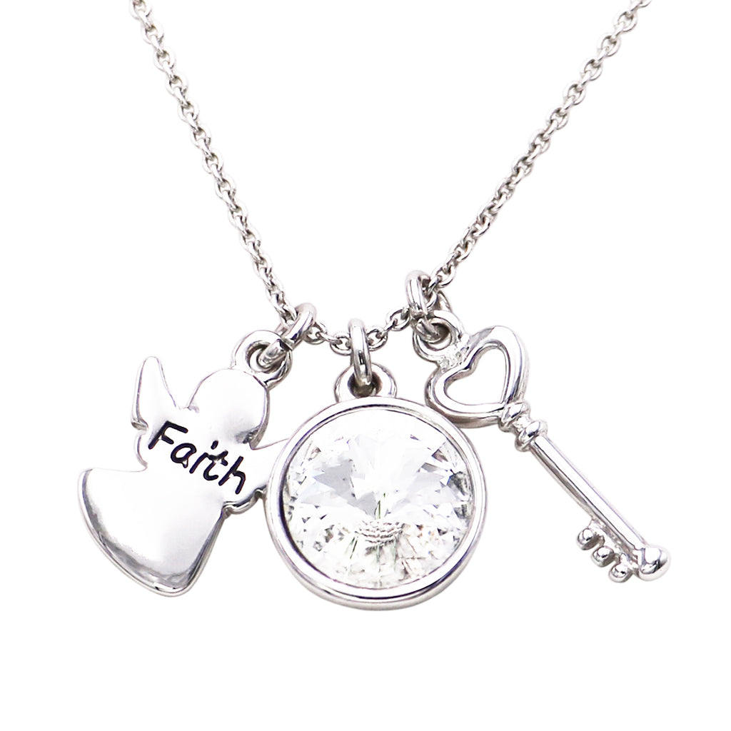 """Faith"" Angel Religious Charm Necklace"