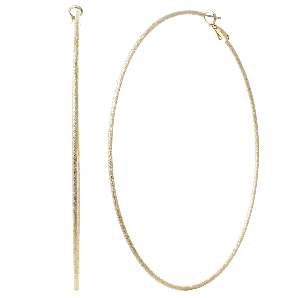 Rosemarie Collections Hypoallergenic Thin Textured Hoop Earrings 100mm (Gold Tone)
