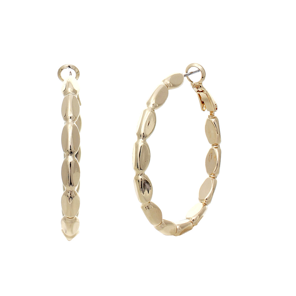 Rosemarie Collections Hypoallergenic Textured Hoop Earrings (Gold)
