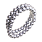 Beautiful 8mm Simulated Pearl Adjustable Stretch Bracelet Set of 2 (Grey)