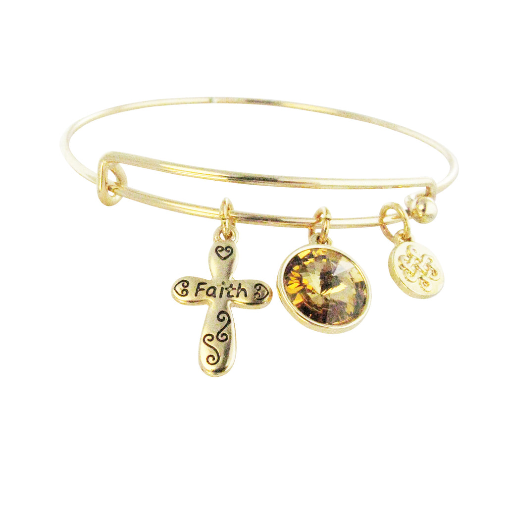 """Faith"" Cross Religious Charm Bangle Bracelet"