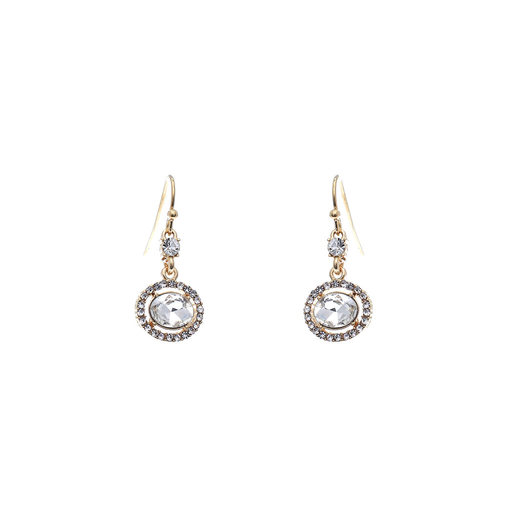 Rhinestone and Crystal Vintage Style Drop Earrings (Crystal Gold)