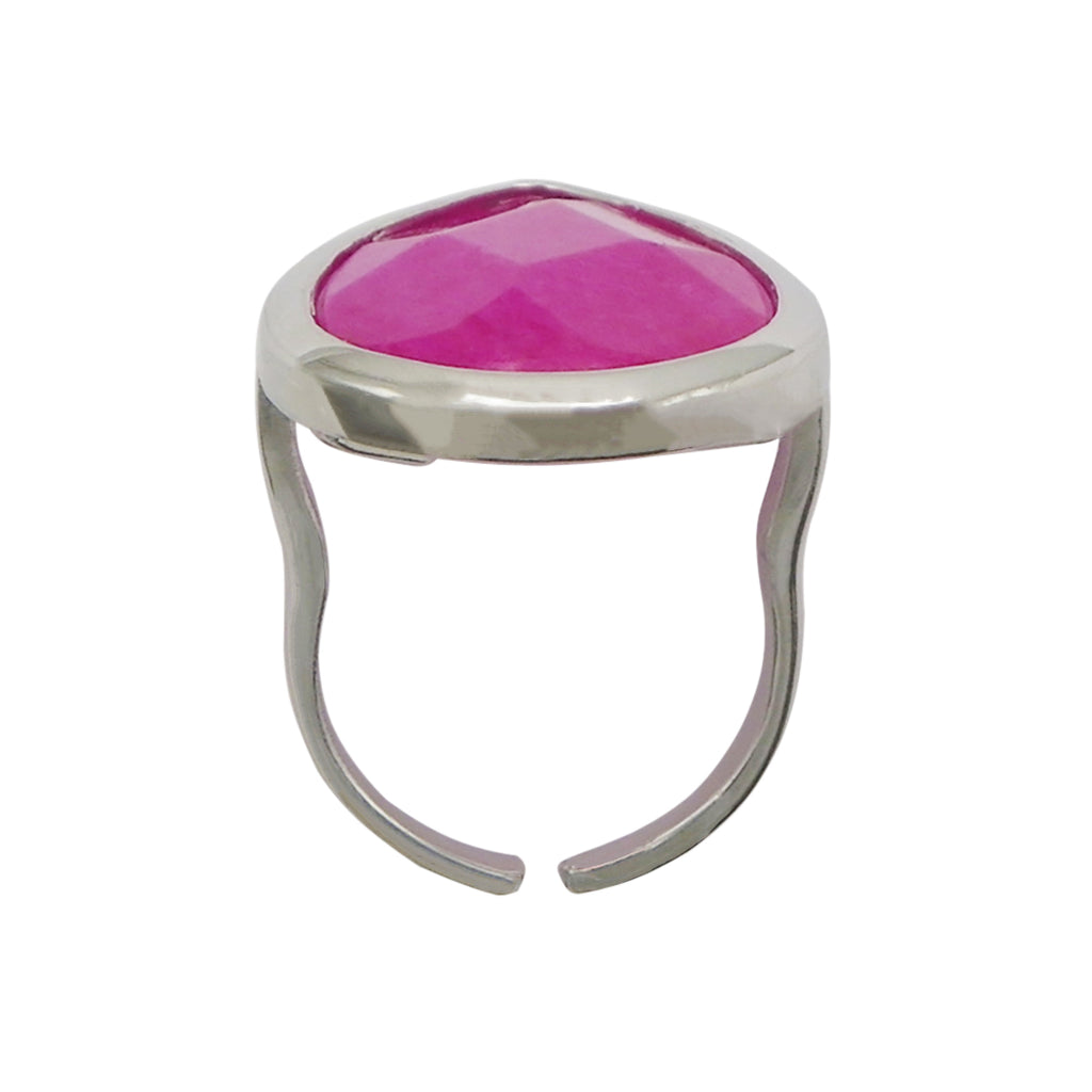 Adjustable Fashion Ring Pink Jade Natural Stone