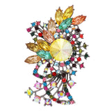 Stunning Multi Color Rhinestone and Crystal Spiral Statement Brooch Pin