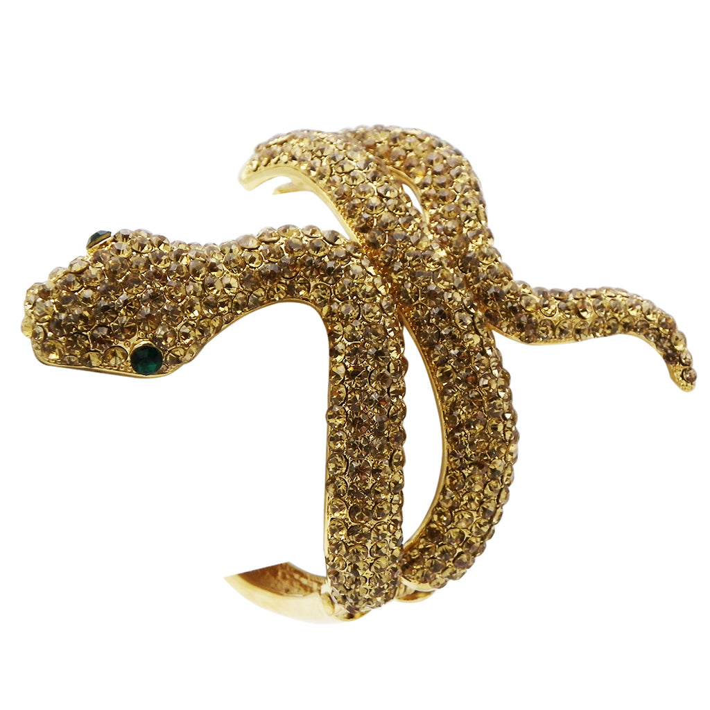 Golden Crystal Rhinestone Snake Fashion Statement Cuff Bracelet