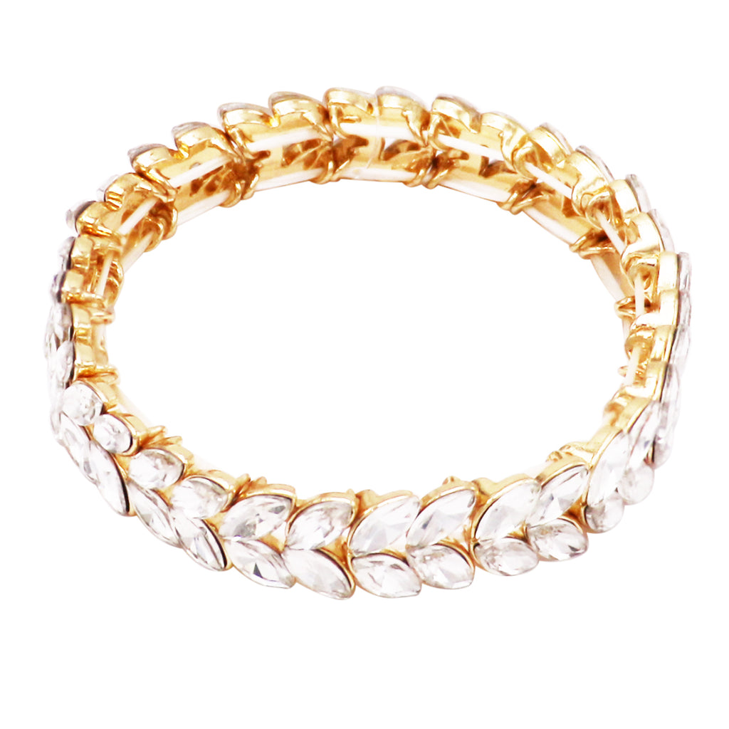 Crystal Marquise Style Sparkling Statement Stretch Bracelet
