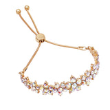 Crystal Daisy Chain Flower Bolo Style Adjustable Bracelet (Gold/Aurora Boreale)