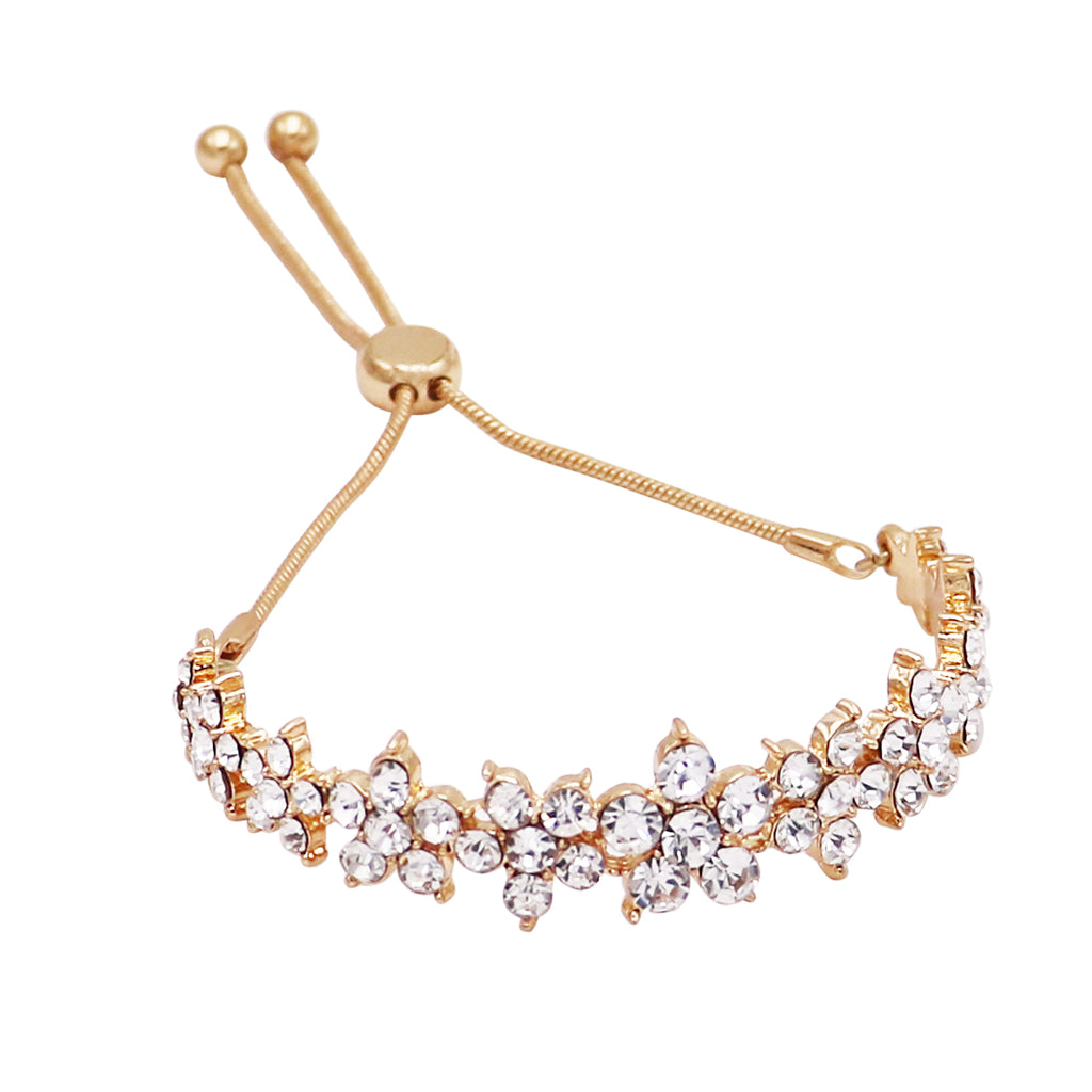 Crystal Daisy Chain Flower Bolo Style Adjustable Bracelet (Gold/Clear)