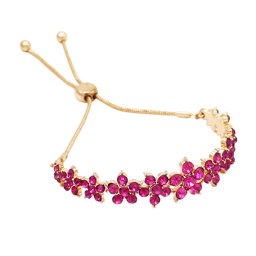 Crystal Daisy Chain Flower Bolo Style Adjustable Bracelet (Gold/Fuchsia)