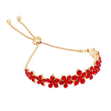 Crystal Chain Flower Bolo Style Adjustable Bracelet (Gold/Red)