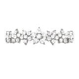 Crystal Daisy Chain Flower Bolo Style Adjustable Bracelet (Silver/Clear)