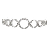 Crystal Geometric Circles Bolo Style Adjustable Bracelet (Silver)