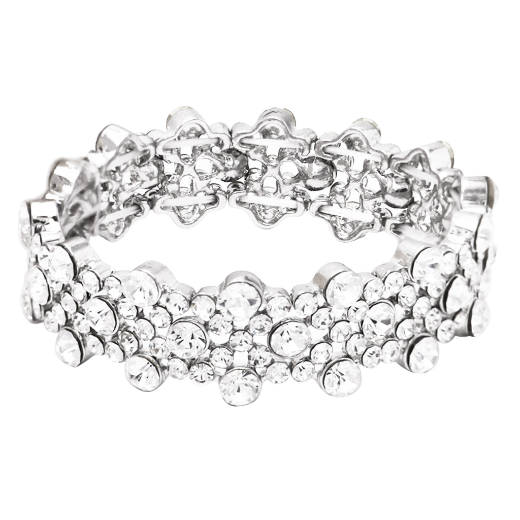 Stunning Sparkling Easy to Wear Multiple Size Crystal Stretch Bracelet