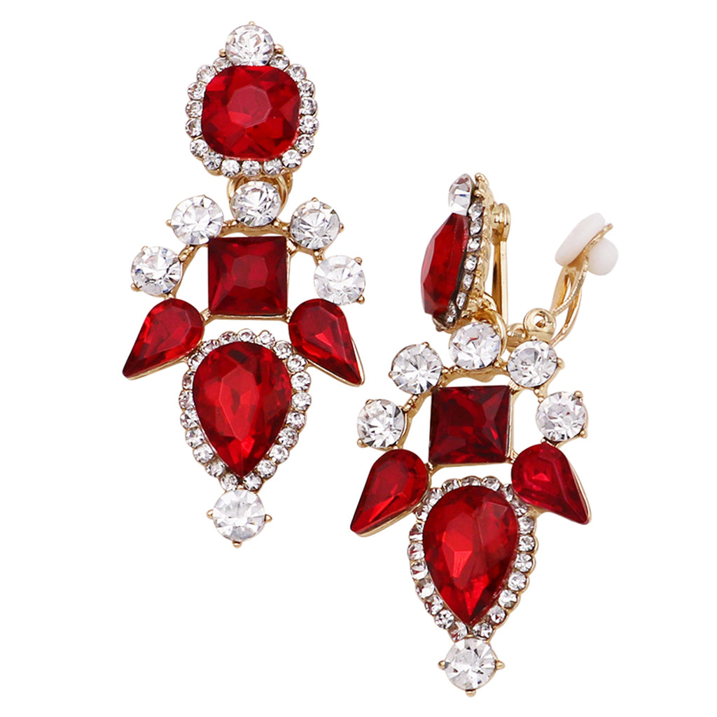 Stunning Red and Clear Crystal Chandelier Comfortable Clip On Earrings