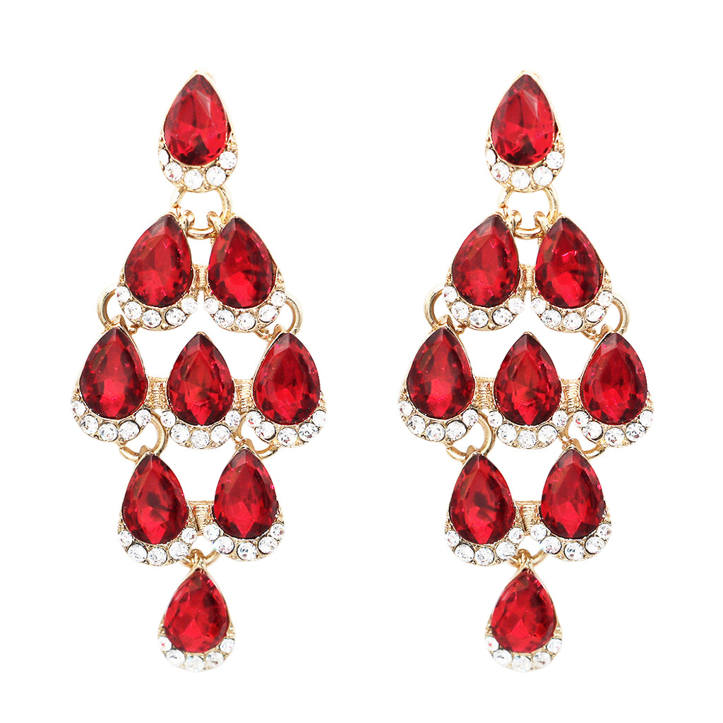 zirconia swarovski deep products with pear crystal siam cubic bridal handmade red on shape earrings