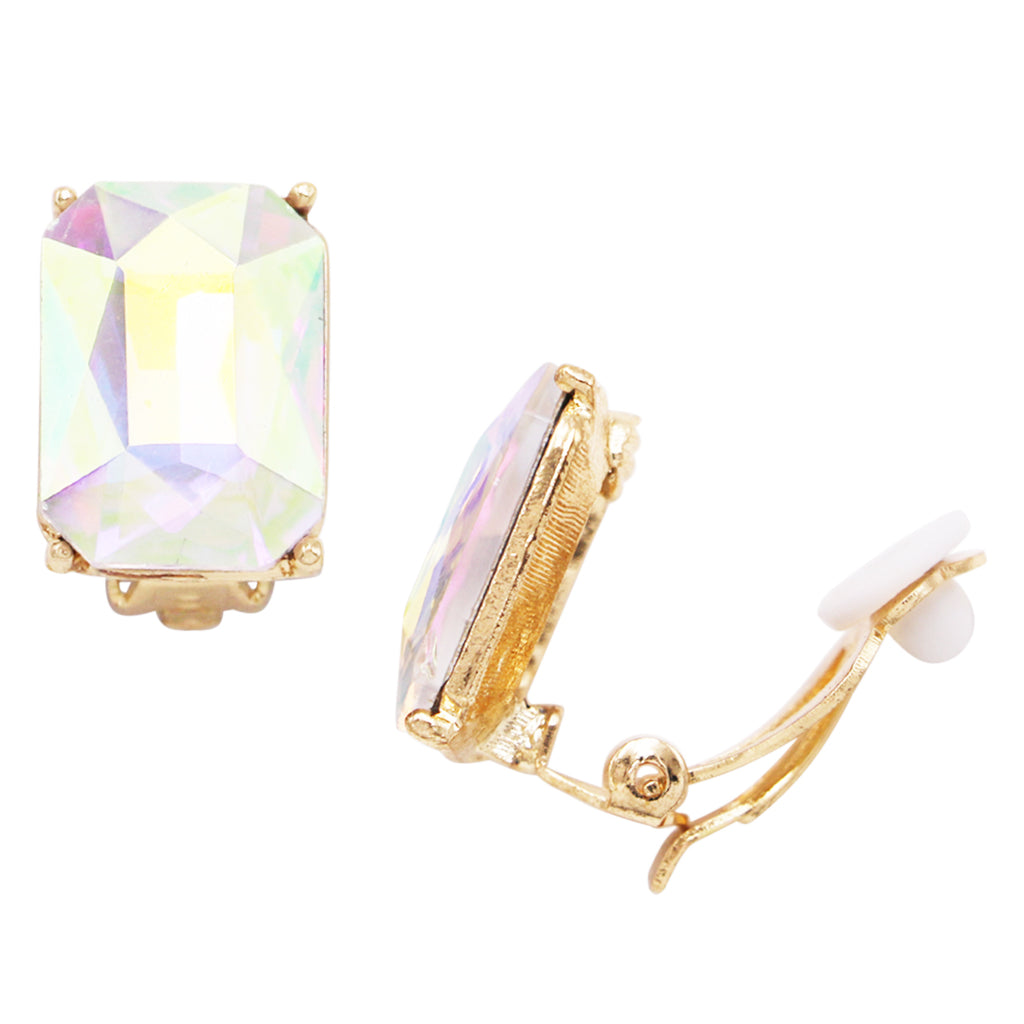 Emerald Cut Glass Crystal Statement Clip On Earrings (Aurore borealis)