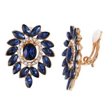 Classic Blue Glass Crystal and Rhinestone Cluster Clip On Earrings