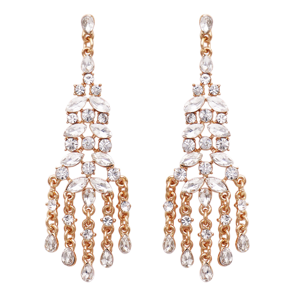 Stunning Statement Crystal Rhinestone Chandelier Earrings (Clear Crystal)