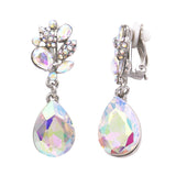 Crystal Teardrop Marquis Statement Clip On Earrings (Silver/Aurora Boreale)