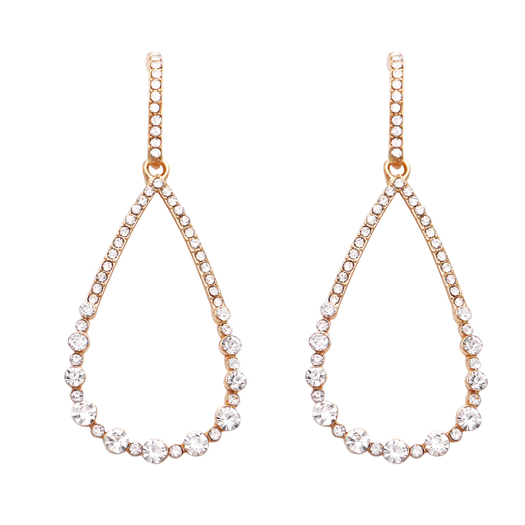 Large Crystal Rhinestone Teardrop Dangle Earrings (Gold)