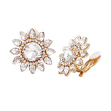 Stunning Crystal Flower Cluster Clip On Earrings