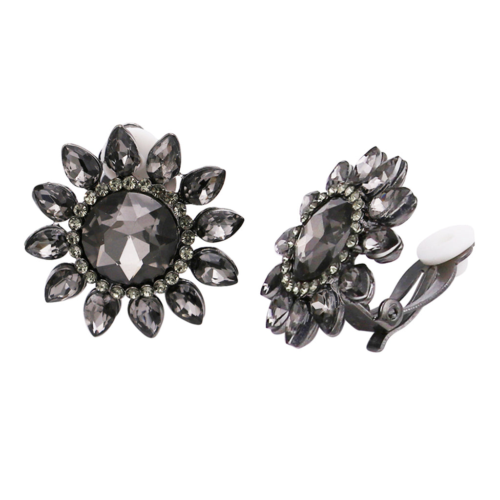 Stunning Crystal Flower Cluster Clip On Earrings 1.25""