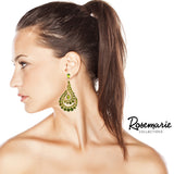 Crystal Rhinestone Paisley Swirl Dangle Post Earrings (Green/Gold Tone)