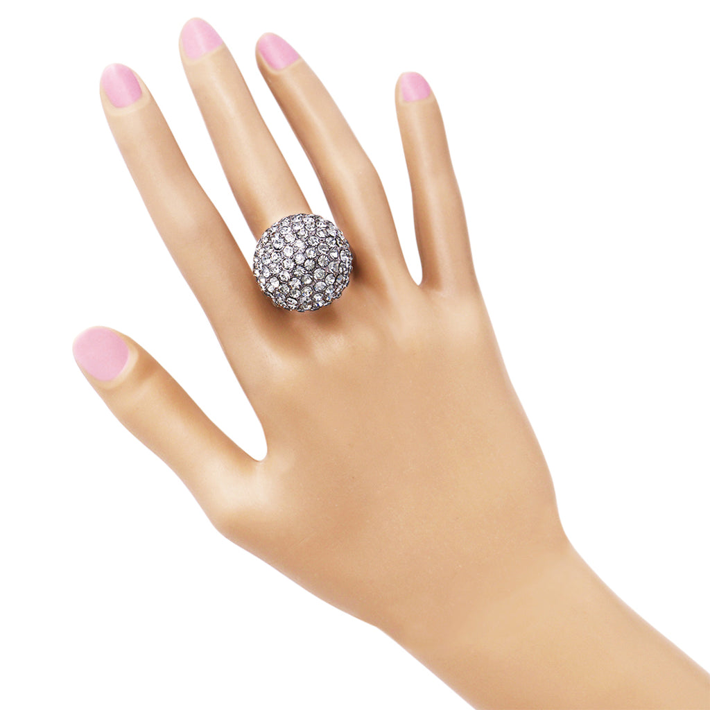 Women's Stunning Crystal Pave Ball Stretch Cocktail Statement Ring
