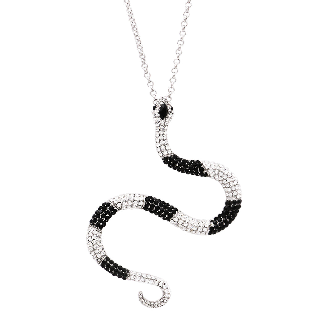 Women's Unique Crystal Rhinestone Statement Serpent Snake Pendant Necklace