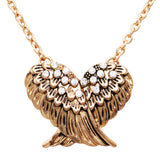 Crystal Rhinestone Angel Wings Pendant Necklace,16