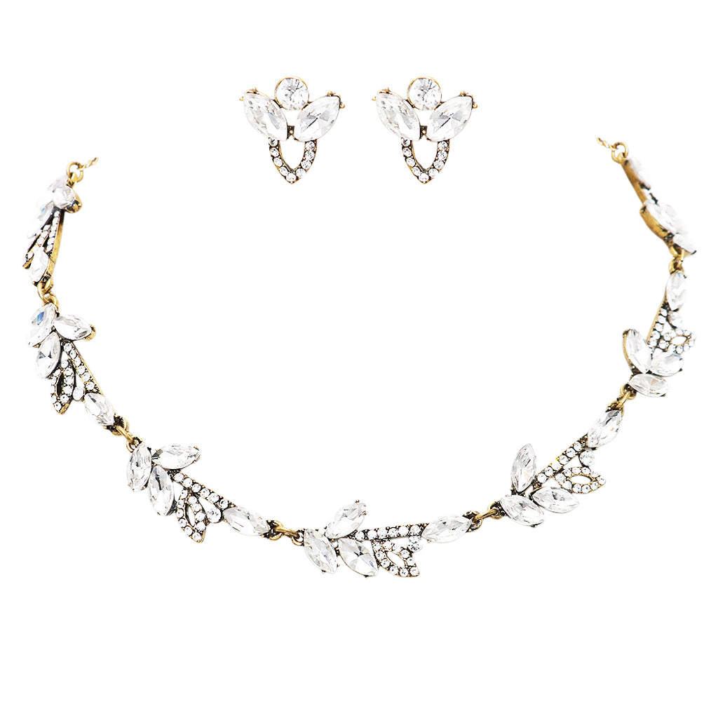 "Women's Rhinestone Elegant European Design Statement Necklace Earrings Jewelry Gift Set, 17"" with 3"" Extender"