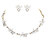 Rhinestone Elegant European Design Statement Necklace Earrings Jewelry Set