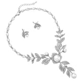 Simulated Pearl Flower and Crystal Leaf Long Pendant Necklace and Earrings Jewelry Set (Silver)