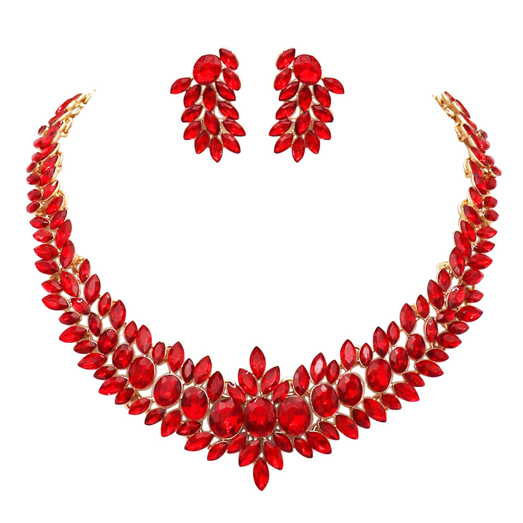 Adjustable Red Crystal Collar Necklace Dangle Earrings Jewelry Set