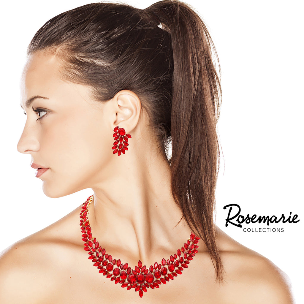 "Adjustable Red Crystal Collar Necklace Dangle Earring Jewelry Set, 16"" with 2"" Extender"