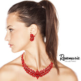 Adjustable Red Crystal Collar Necklace Dangle Earring Jewelry Set, 16