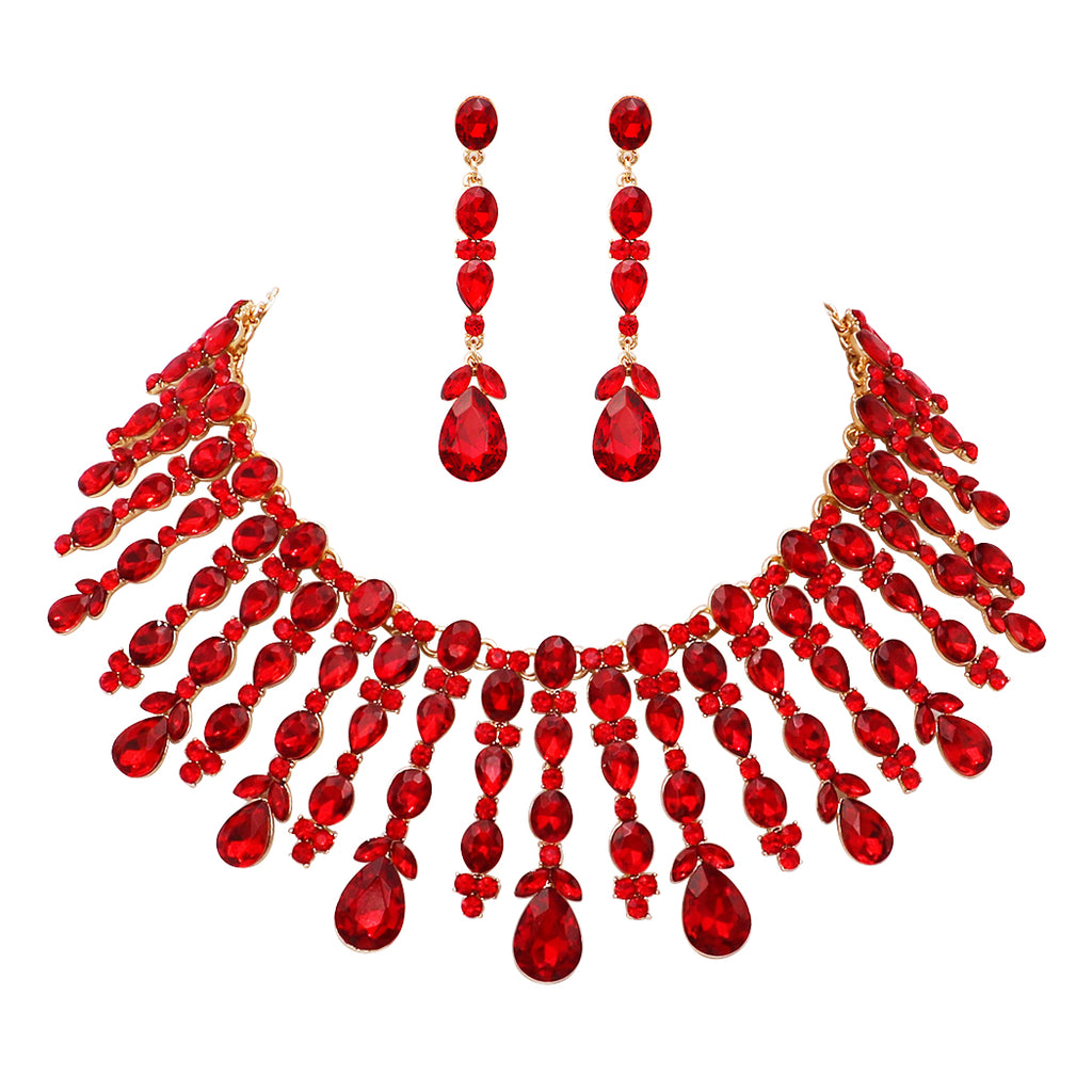3ac100efe8d7 Starburst Red Crystal Collar Necklace and Dangle Earrings Jewelry Set –  Rosemarie Collections