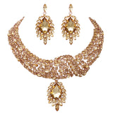 Rose Gold Statement Teardrop Crystal Collar Necklace Dangle Earrings Jewelry Set