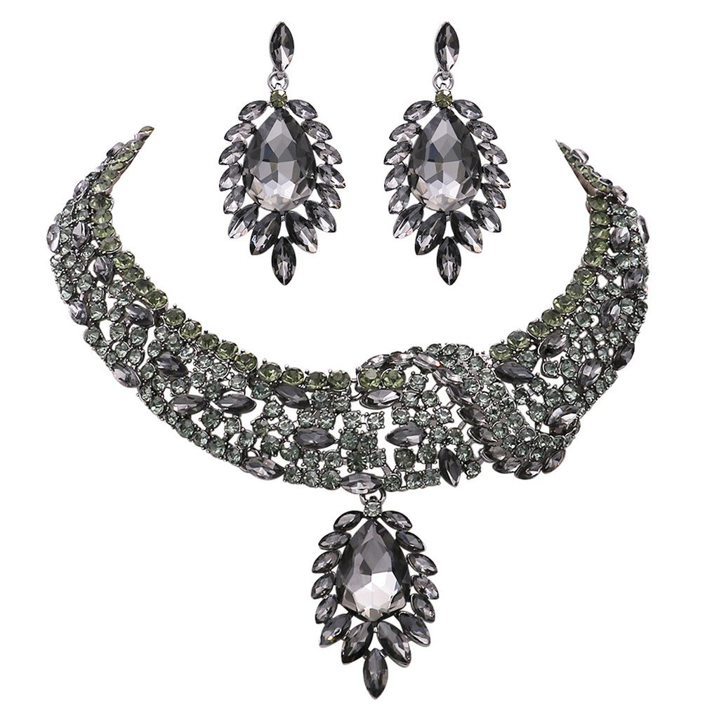 Black Statement Teardrop Crystal Collar Necklace Dangle Earrings Jewelry Set