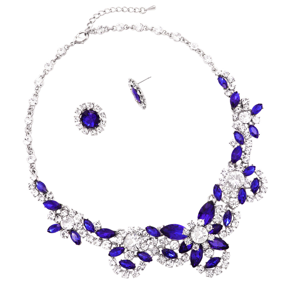 Brilliant Sapphire Blue Crystal Collar Statement Necklace Earrings Jewelry Set
